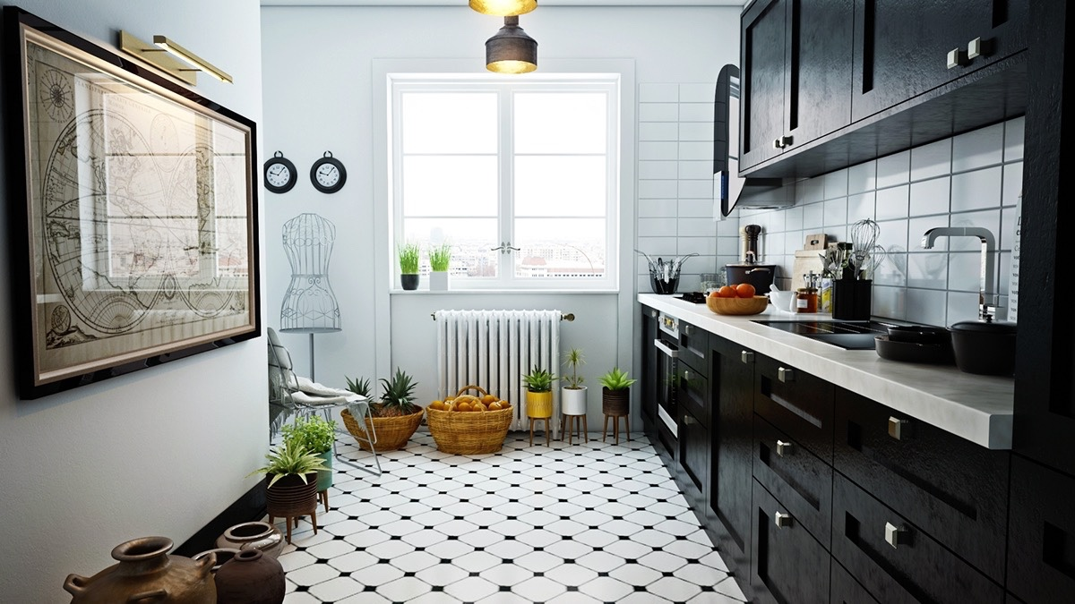 black and white tile floor kitchen. delightful decoration black