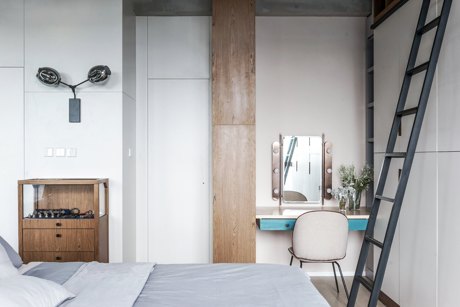 Wall Ladder Wooden Panel Scandinavian Bedroom - 3 small studio apartments that exude luxurious space