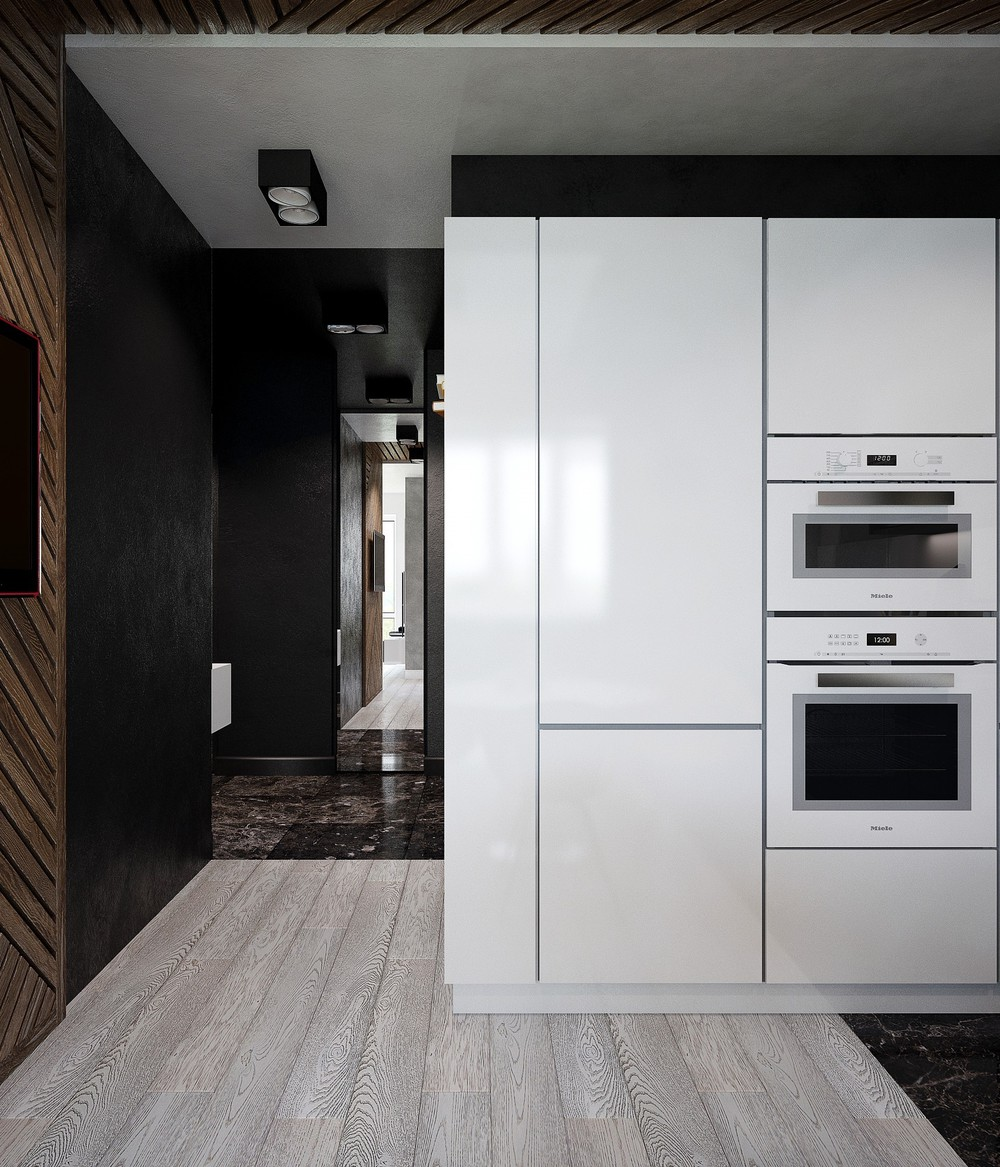 White Lacquer Cabinetry Minimalist Kitchen - 3 small studio apartments that exude luxurious space