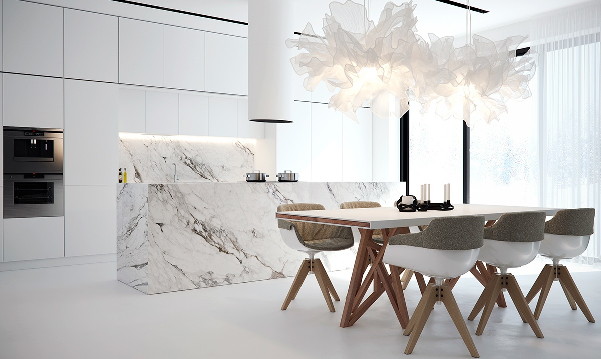 36 marvellous marble kitchens that spell luxury assess for Kitchen colors with white cabinets with serviettes en papiers