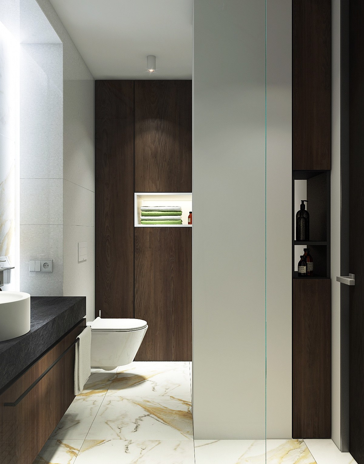 Wood Accent Bathroom Marbled Floor - Spacious looking one bedroom apartment with dark wood accents