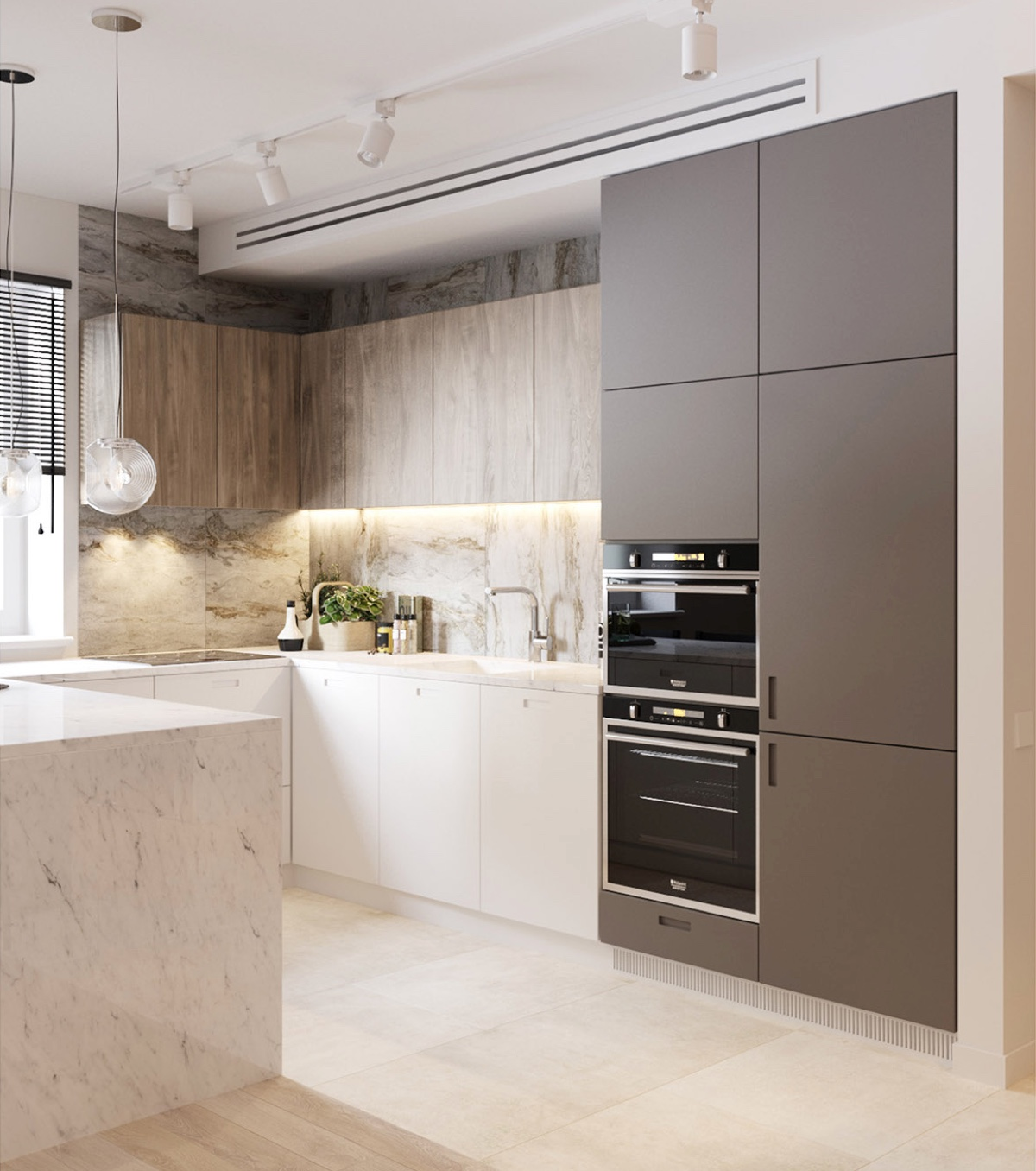 Wood And Grey White Marble Kitchen - 36 marvellous marble kitchens that spell luxury