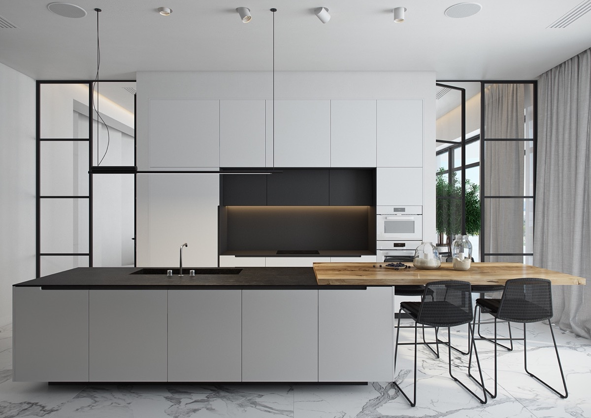 40 beautiful black white kitchen designs assess myhome for Kitchen designs black and white