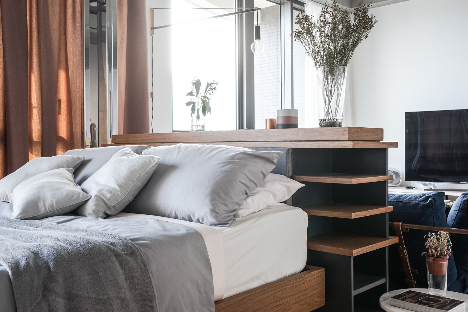 Wooden Slatted Headboard Modern Bedroom - 3 small studio apartments that exude luxurious space