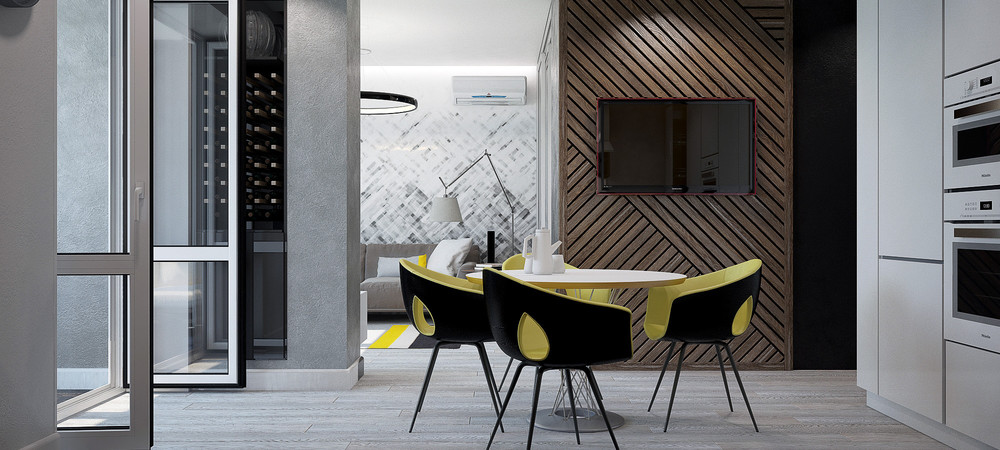 Wooden Wall Grey Wall Textured Futuristic Studio Apartment - 3 small studio apartments that exude luxurious space