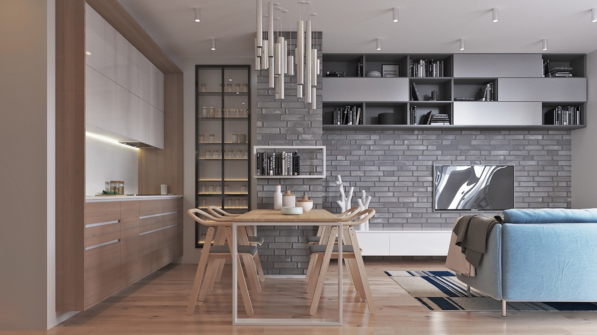 Scandinavian Dining Room Wooden Table And Kitchen Steel Chandelier - Two muted tone exposed brick pads for young families