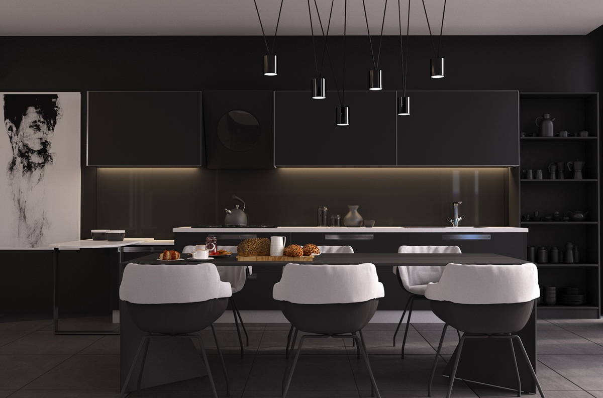 Black And White Kitchen And Dining Room - 4 gorgeous homes with matte black walls
