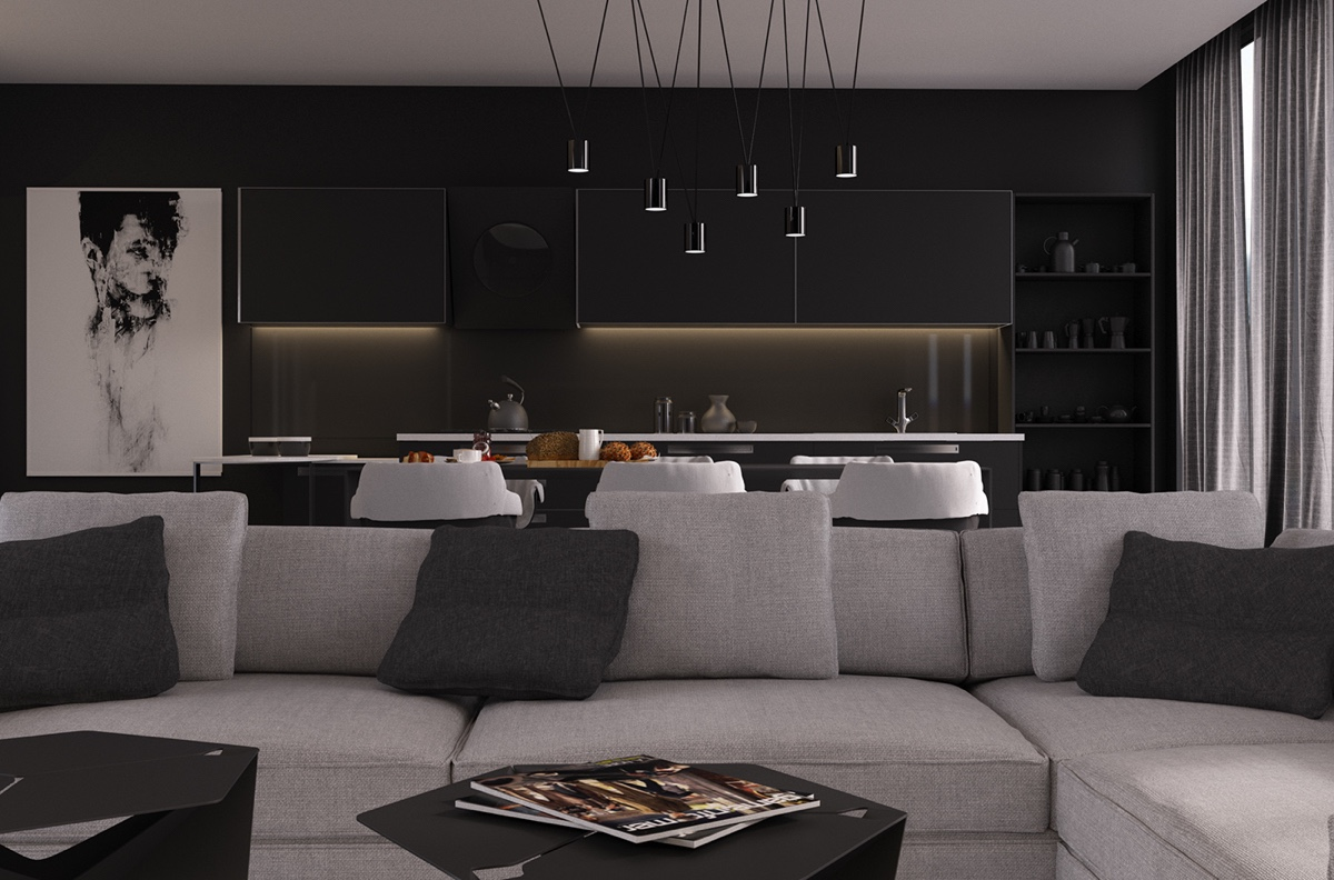 Black Pendant Lights Over Dining Table - 4 gorgeous homes with matte black walls