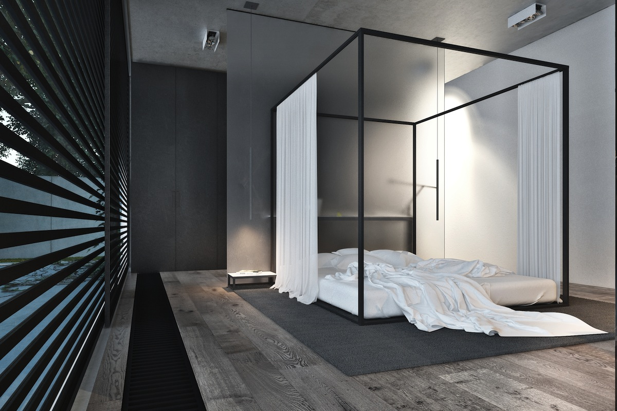 32 fabulous 4 poster beds that make an awesome bedroom for Industrial minimalist design