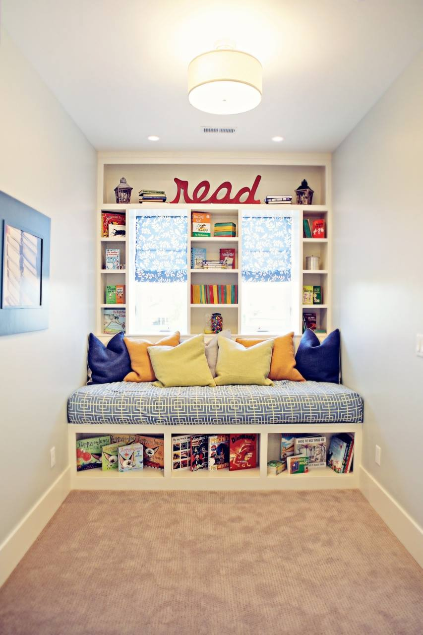 Blue Orange And Yellow Kids Reading Nook Furniture - 50 best reading nooks we have ever come across