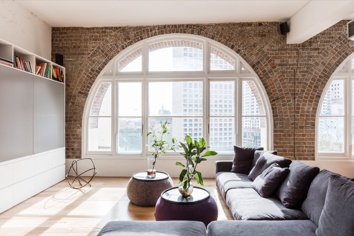 Living Rooms With Exposed Brick Walls - White brick interiors