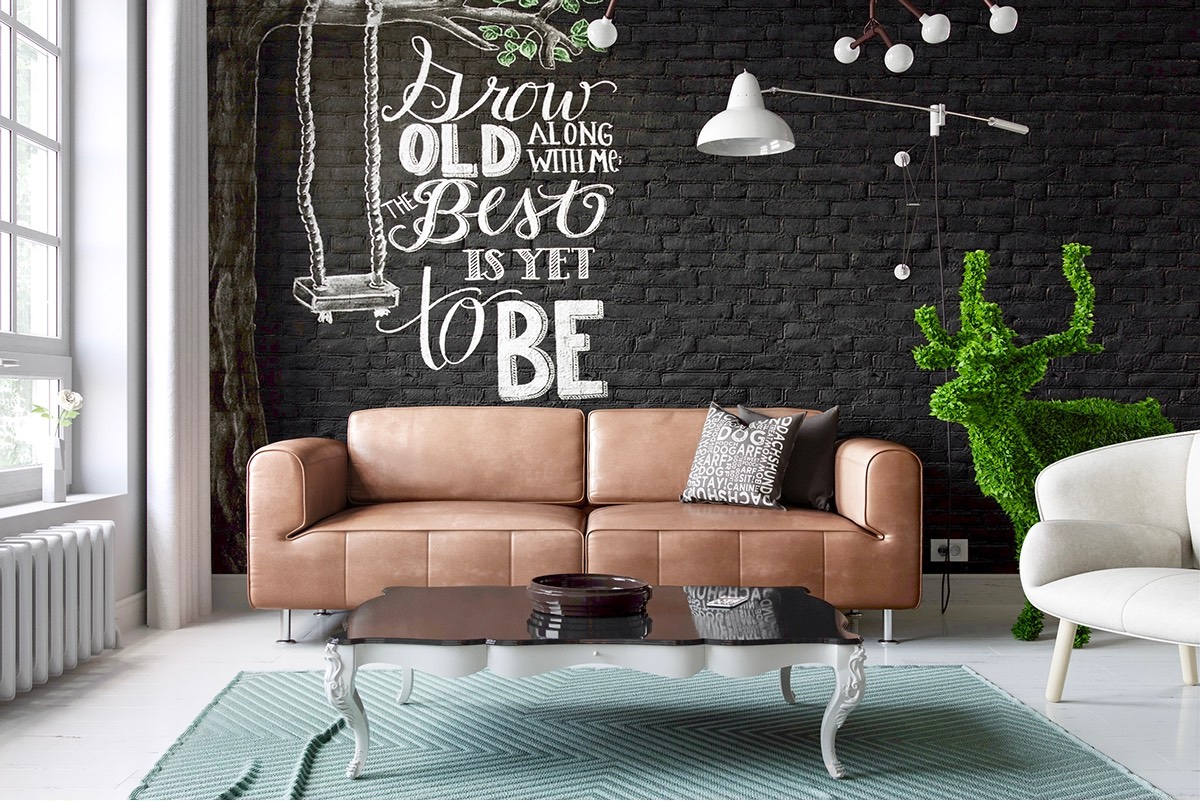 Chalkboard Typography Brick Wall Decoration Ideas