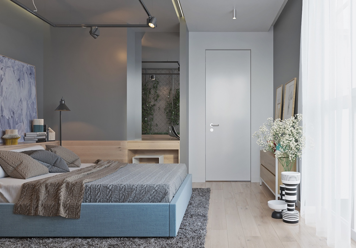 Clean And Light Bedroom Wooden Flooring Grey Walls - Two muted tone exposed brick pads for young families