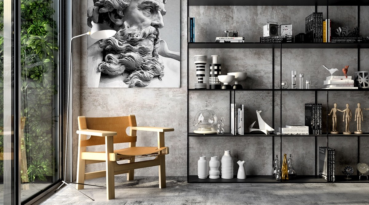 Concrete Accent Wall With Black And White Decor - 4 gorgeous homes with matte black walls
