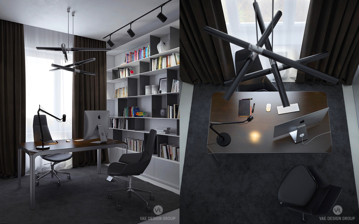 Contemporary Office LED Stick Chandelier Black - Two muted tone exposed brick pads for young families
