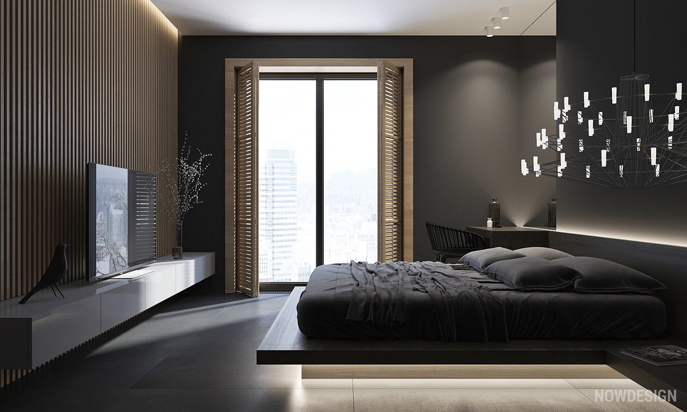 4 gorgeous homes with matte black walls for Black bedroom walls