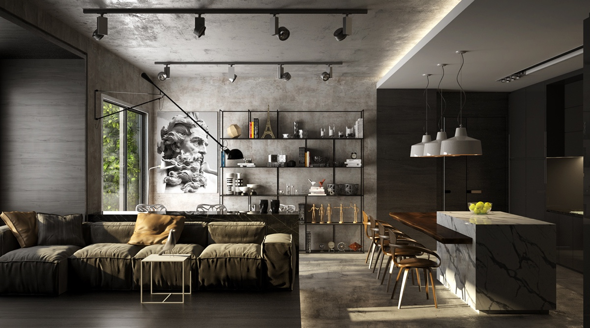 Dark Grey And Black Industrial Living Room Decor - 4 gorgeous homes with matte black walls