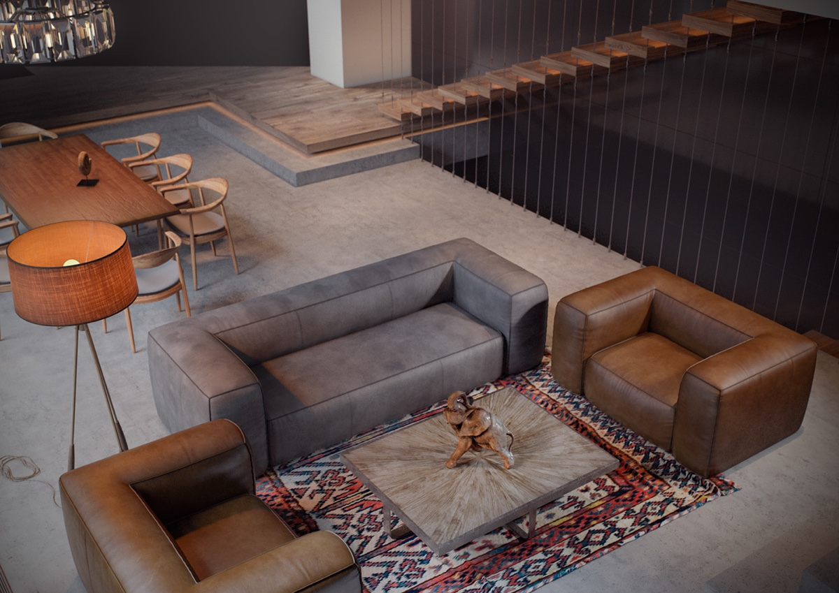 Dark Grey And Leather Living Room Decor - 4 gorgeous homes with matte black walls