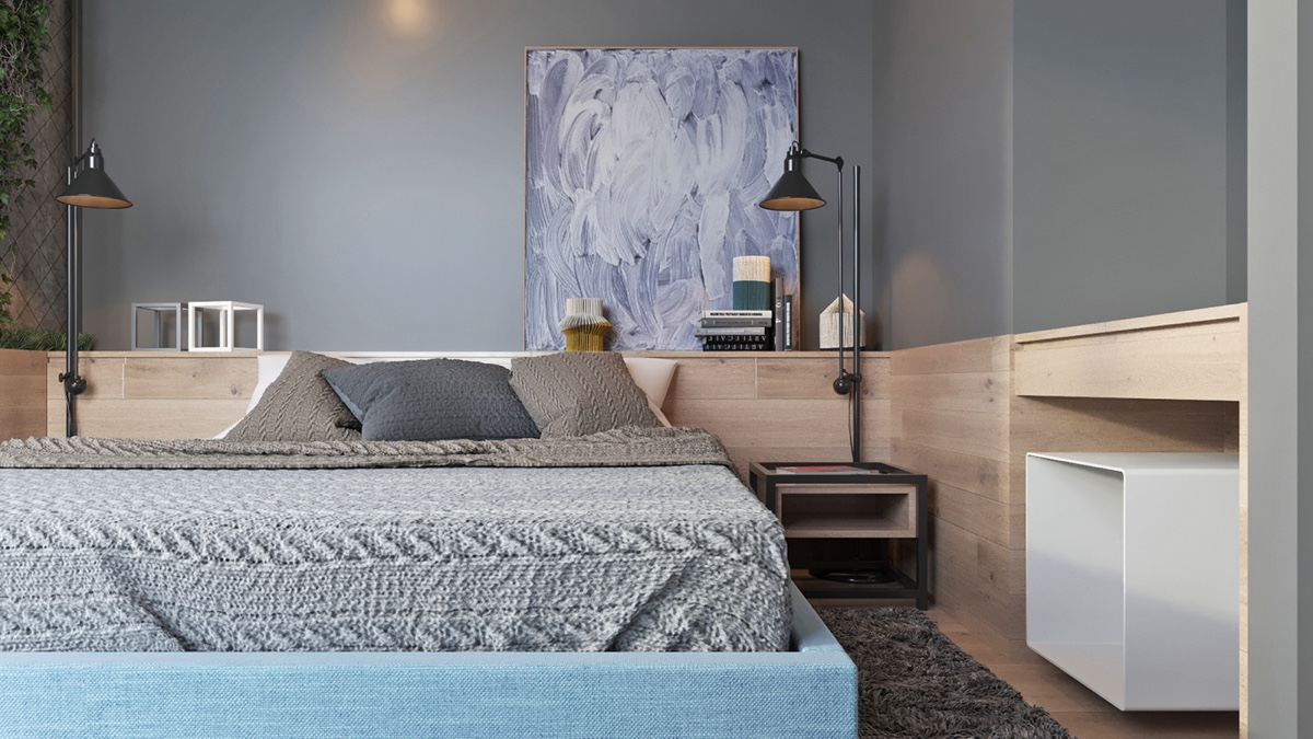 Dusky Toned Bedroom Abstract Blue Leaning Artwork - Two muted tone exposed brick pads for young families