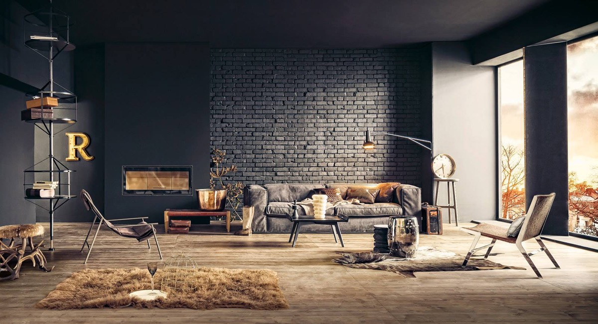 living rooms with exposed brick walls - Industrial Living Room Decor