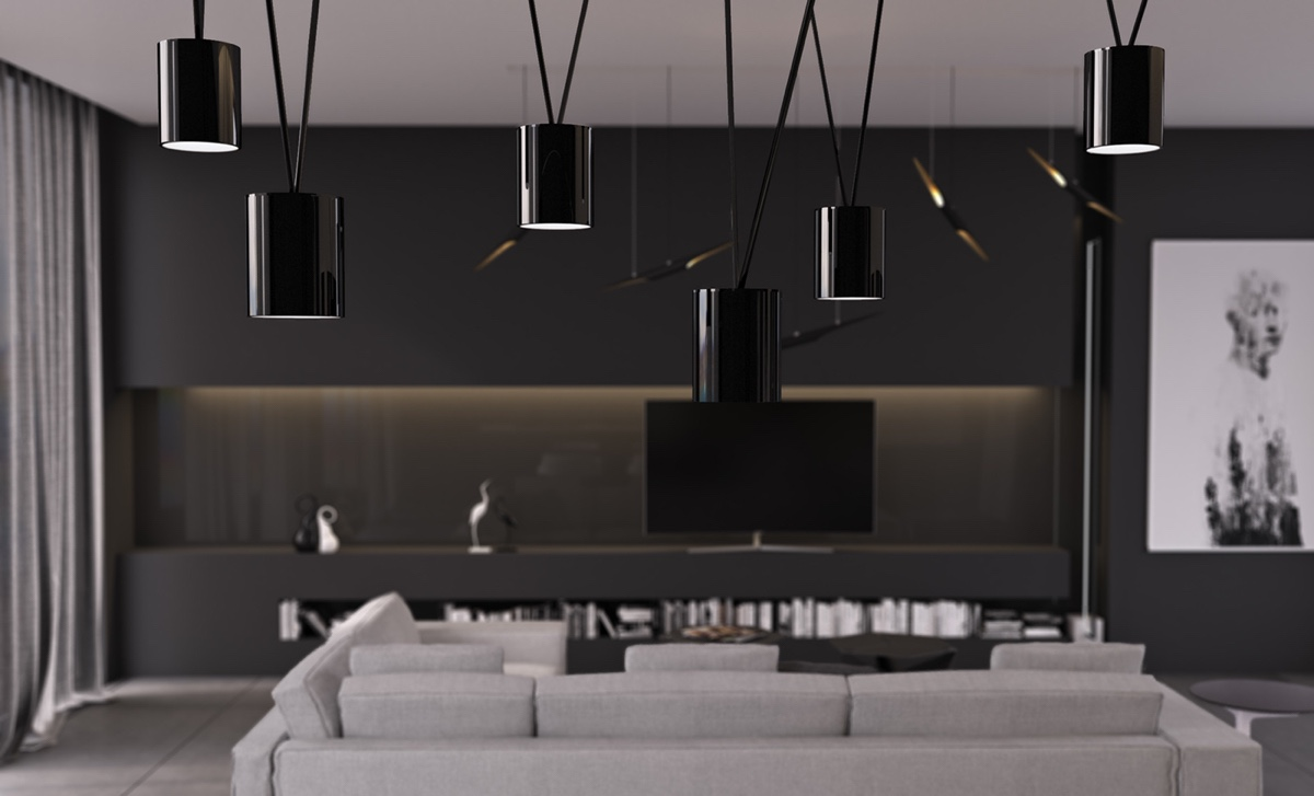 Glossy Black Pendant Lights - 4 gorgeous homes with matte black walls