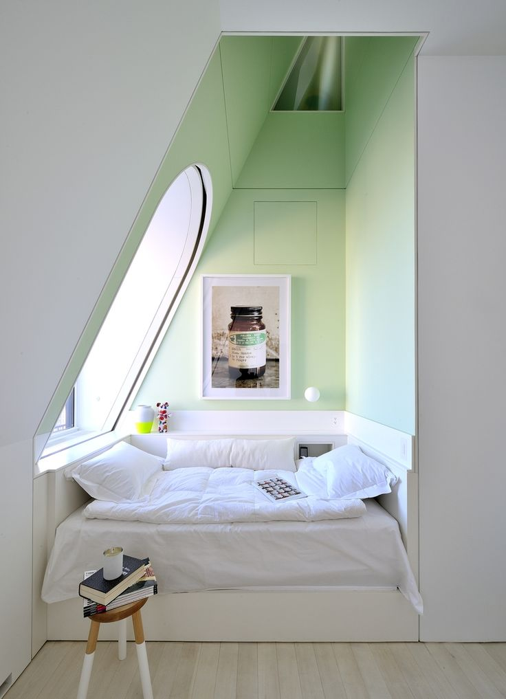 Green Asymmetrical Reading Space - 50 best reading nooks we have ever come across