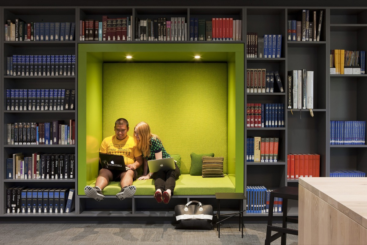 Green Square Library Compartment Seating Nook - 50 best reading nooks we have ever come across