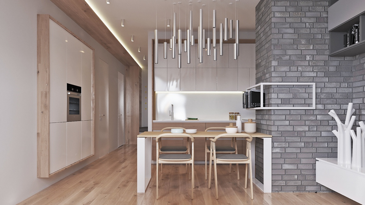 Grey And Wood Dining Room Steel Pillar Chandelier - Two muted tone exposed brick pads for young families