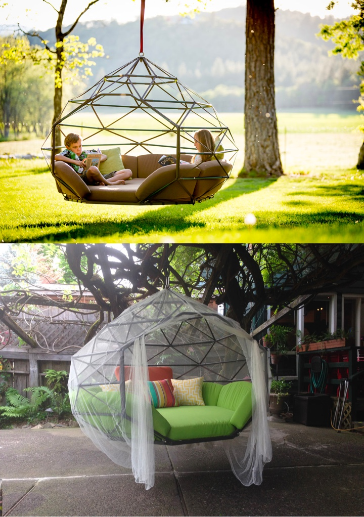 Hanging Cicada Pod Outdoor Reading Space - 50 best reading nooks we have ever come across