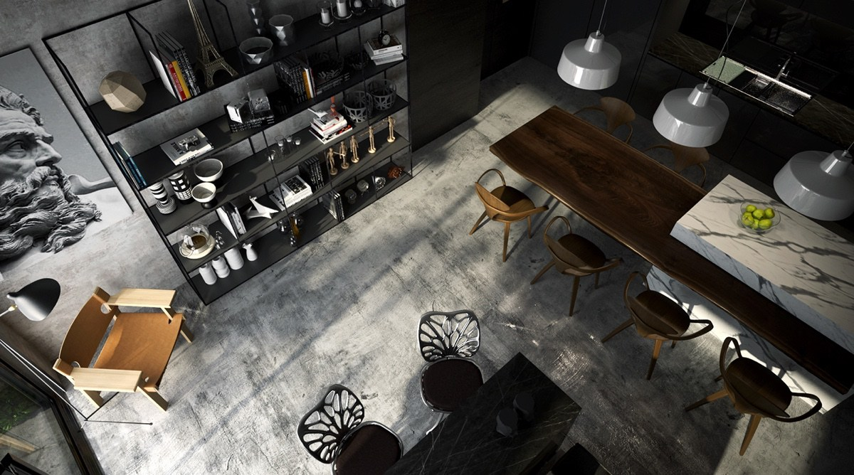 Living Room With Concrete Wood And Marble - 4 gorgeous homes with matte black walls