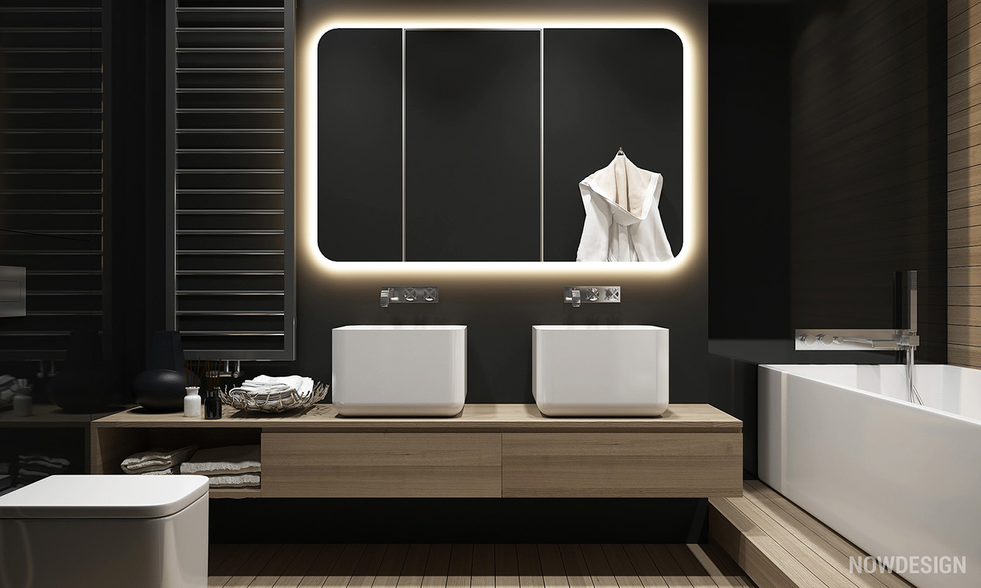 Modern Black And Wood Bathroom With Retro Mirror - 4 gorgeous homes with matte black walls