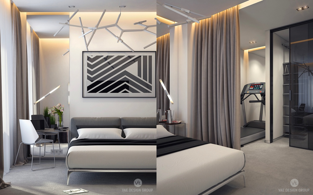 Monochrome Bedroom Beige And Black Zigzag Artwork - Two muted tone exposed brick pads for young families