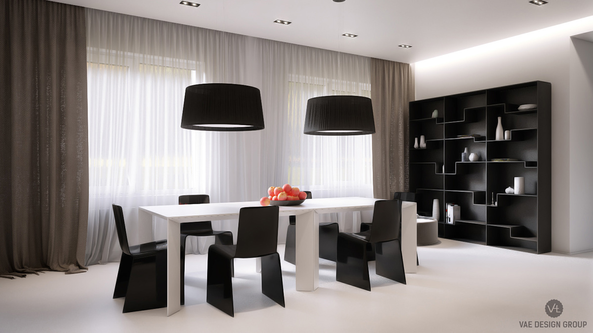 Monochrome Dining Room Black Zen Shaped Bookcase - Two muted tone exposed brick pads for young families