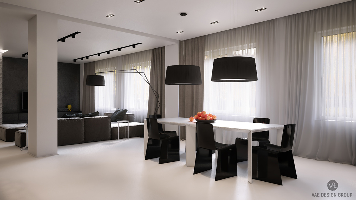 Monochrome Dining Room Spacious Two Hanging Black Lamps - Two muted tone exposed brick pads for young families