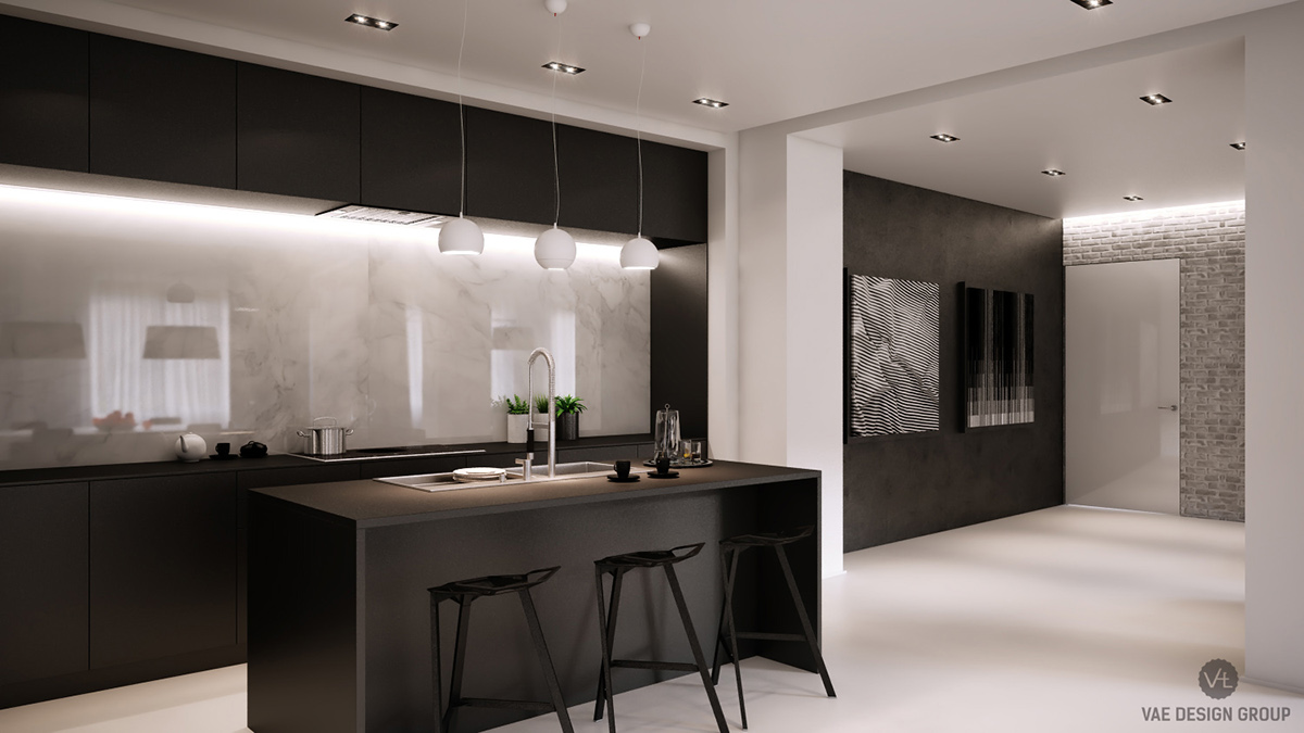 Monochrome Kitchen LED Lit Central Marble Panel - Two muted tone exposed brick pads for young families