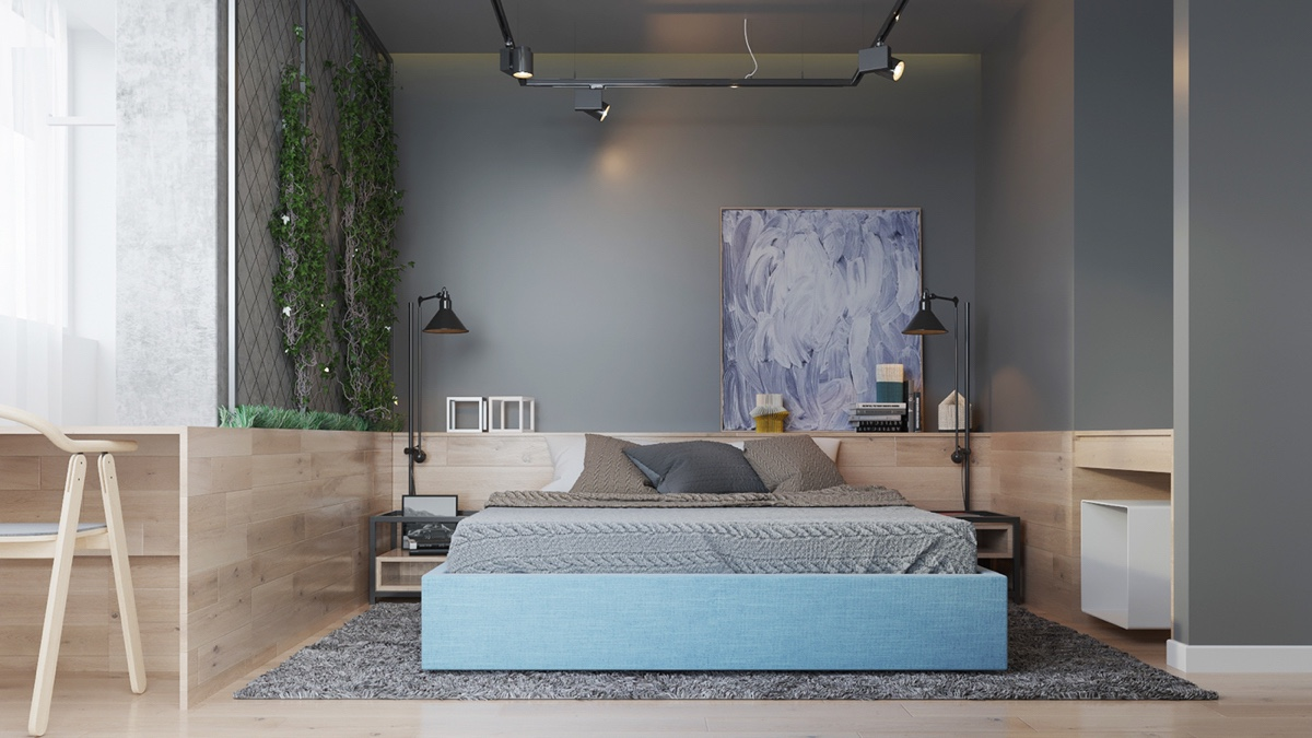 Pastel Bedroom Living Wall Teal Bedframe - Two muted tone exposed brick pads for young families