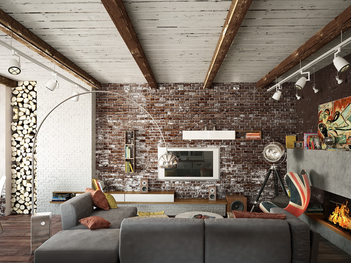 Living rooms with exposed brick walls for Brick wallpaper interior design