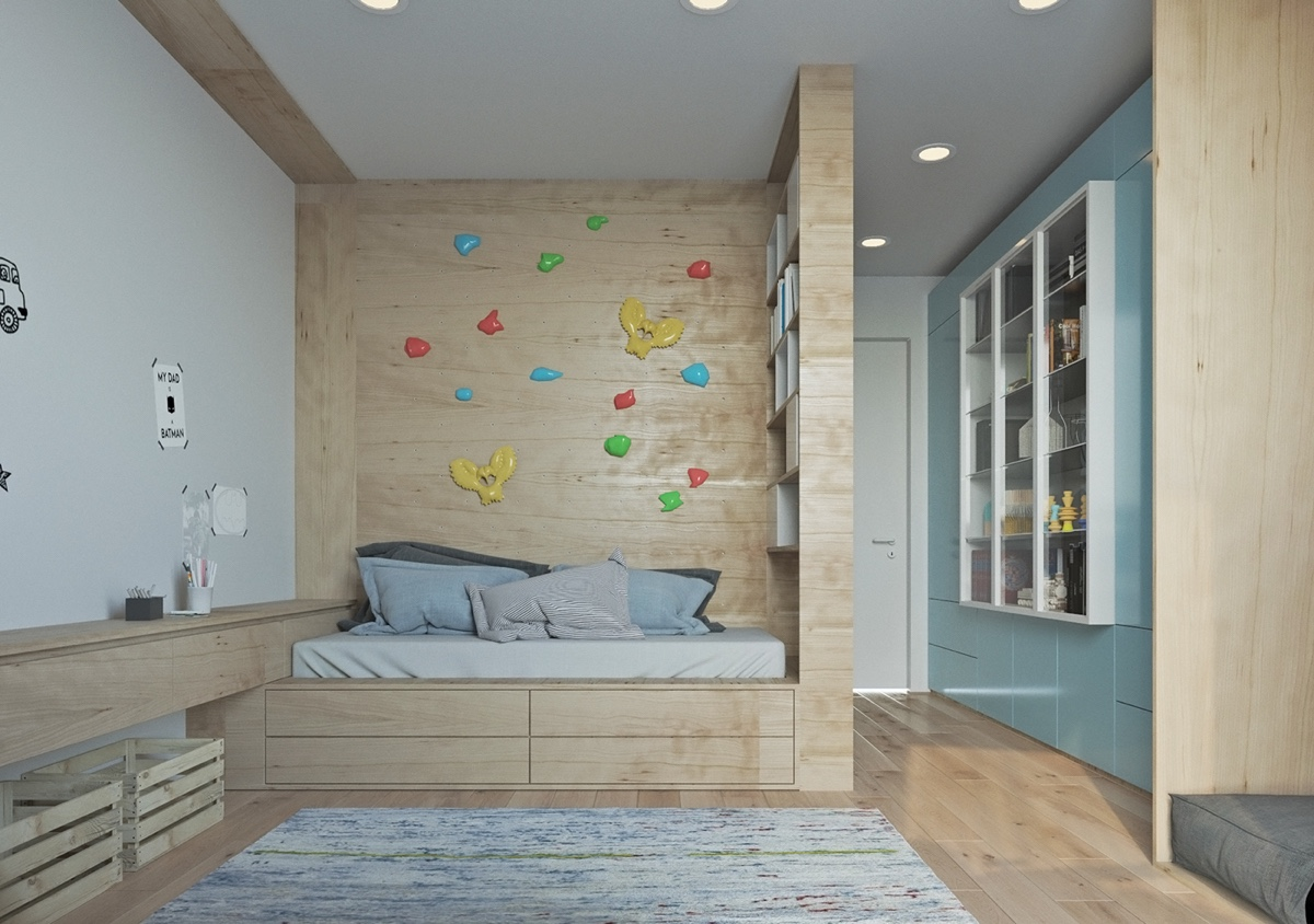 Simplistic Playroom Wooden Bedframe Ornamental Wall - Two muted tone exposed brick pads for young families
