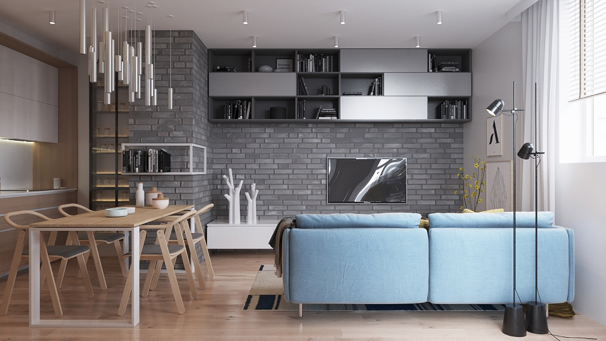 Small Space Made Large All Wooden Flooring - Two muted tone exposed brick pads for young families