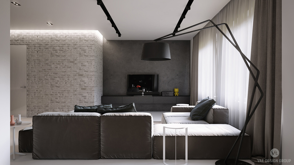 Sophisticated Living Room Exposed Grey Brick Wall - Two muted tone exposed brick pads for young families