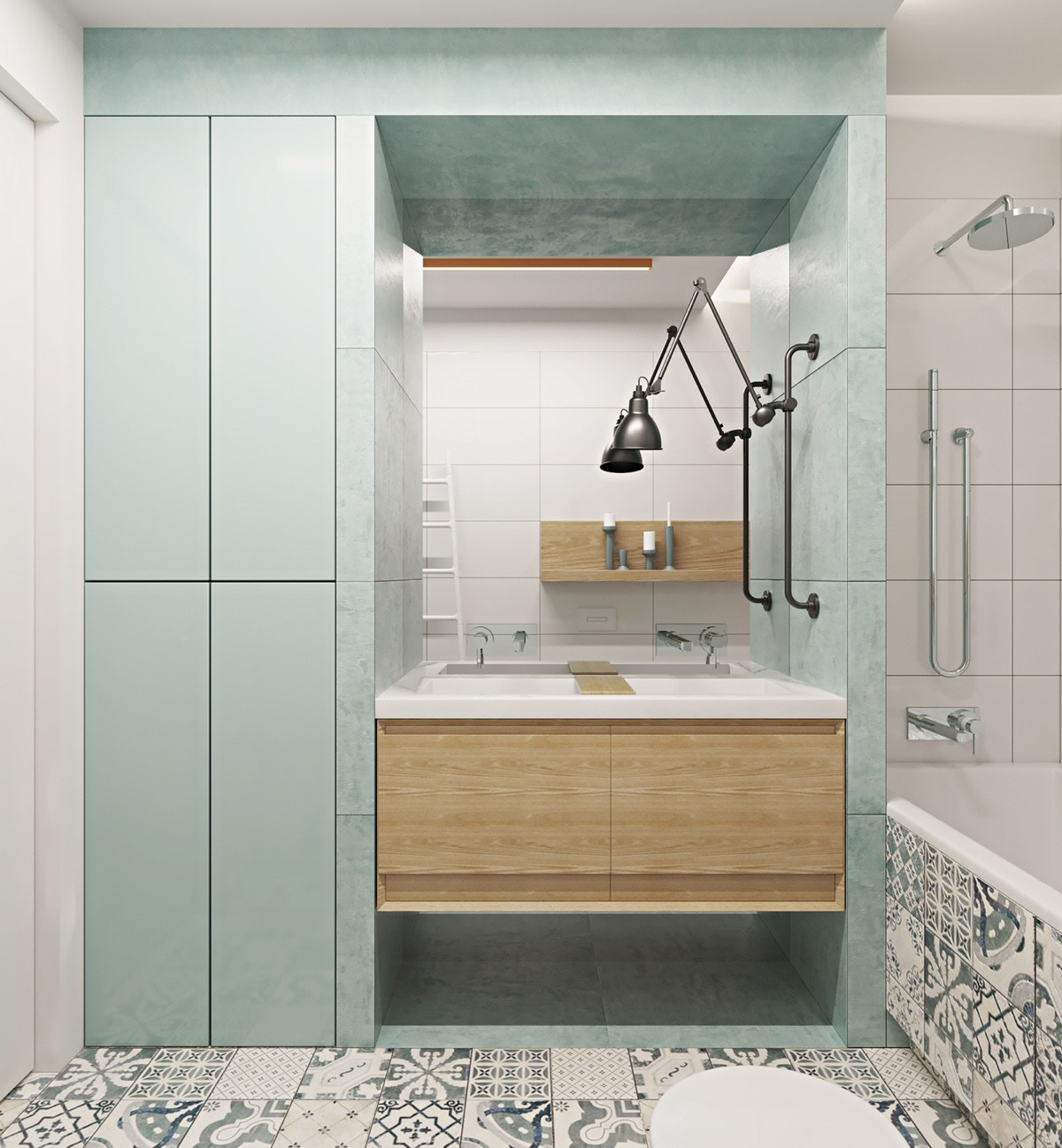 Teal Feature Wall Bathroom Central Wooden Sink Cabinet - Two muted tone exposed brick pads for young families