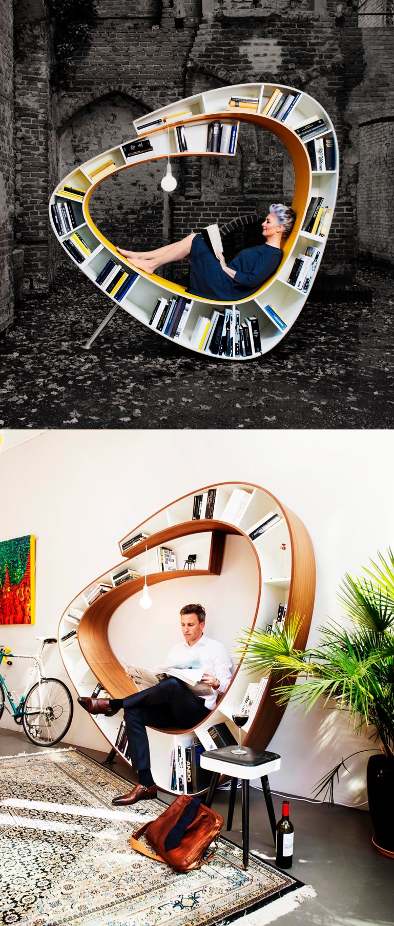 Unique Spiral Bookcase Reading Space - 50 best reading nooks we have ever come across