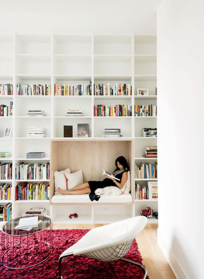 White Compartmentalised Library Seating Nook - 50 best reading nooks we have ever come across
