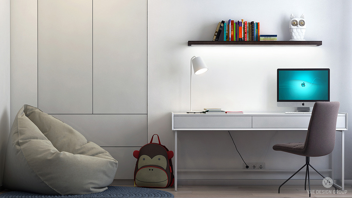 White Office Area Cabinet Beige Bean Bag - Two muted tone exposed brick pads for young families