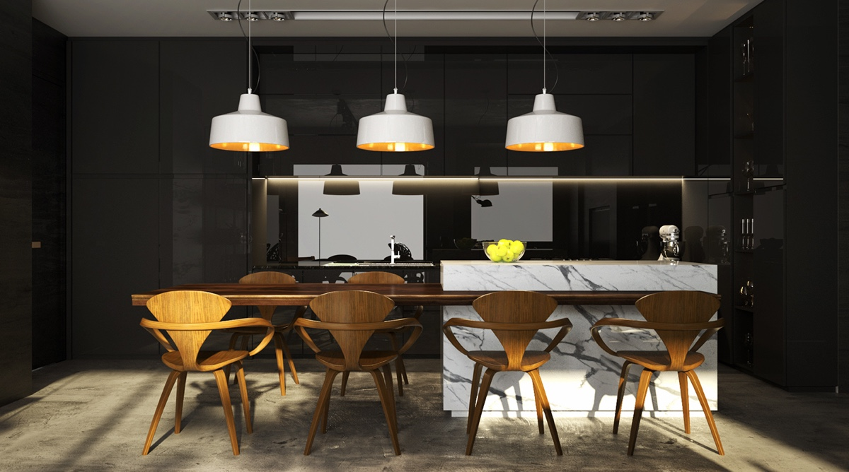 White Pendant Lights In Black Kitchen - 4 gorgeous homes with matte black walls