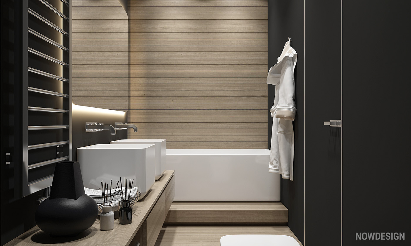 Wood Accent Wall In Bathroom - 4 gorgeous homes with matte black walls