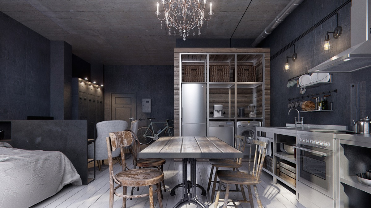 Industrial Studio Apartment 3 studio apartments under 50sqm for city-dwelling couples
