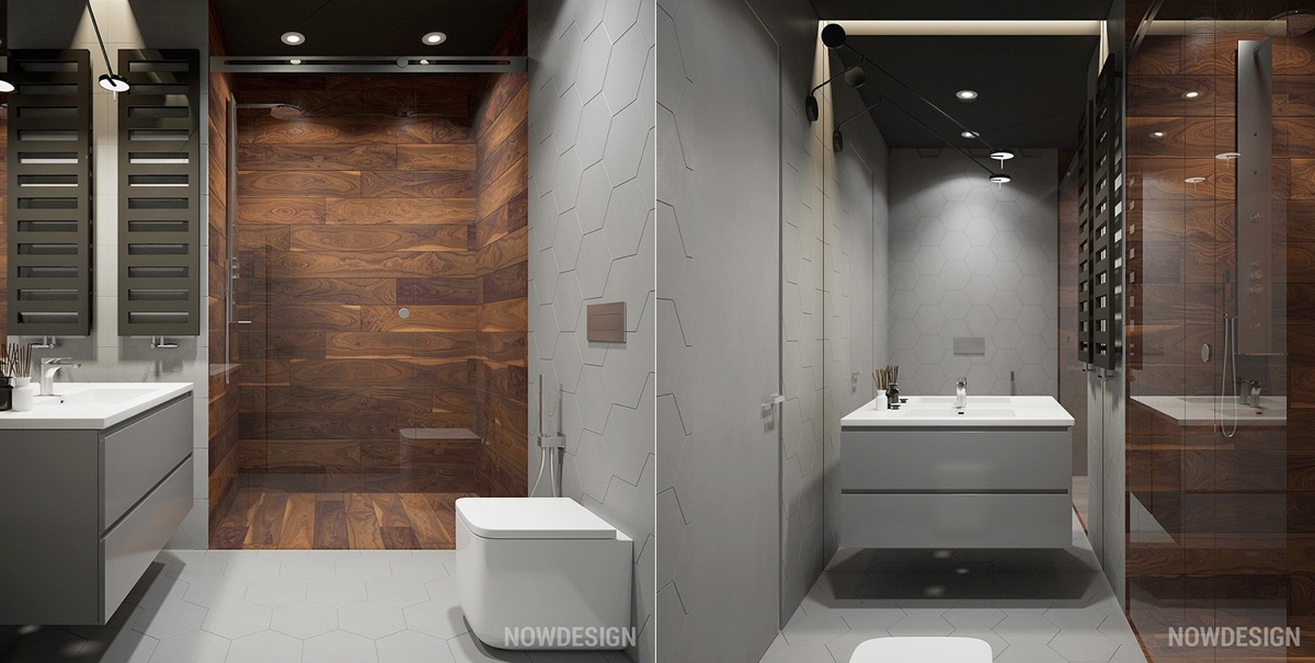 Wood Shower Walls - 4 gorgeous homes with matte black walls