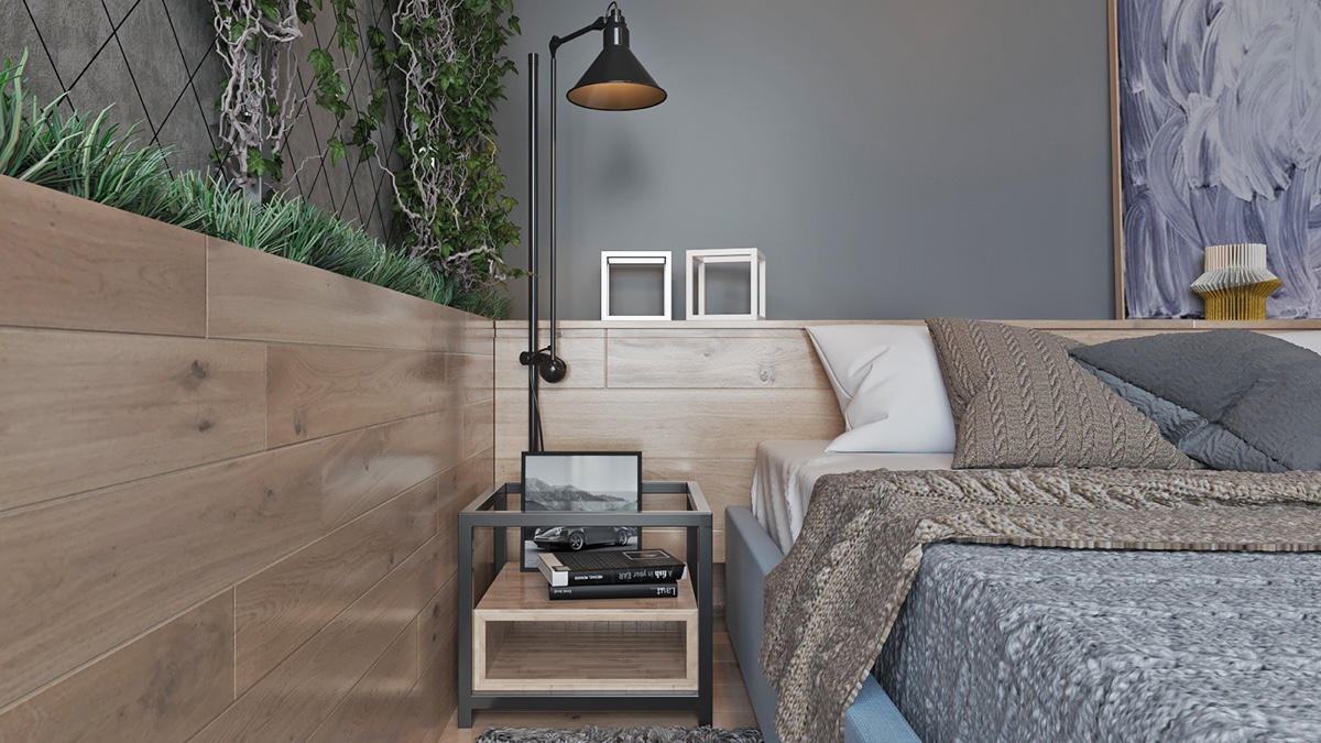 Wooden Bedroom Headboard And Walls Standing Black Lamp - Two muted tone exposed brick pads for young families