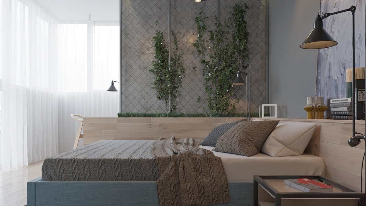 Wooden Bedroom Living Wall Exposed Brick - Two muted tone exposed brick pads for young families